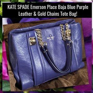 Kate Spade Emerson Place Baja Blue Purple Tote Bag
